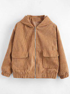 Hooded Drop Shoulder Zipper Jacket - Camel Brown M