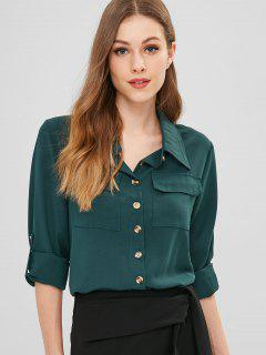 Chemise à Manches Roulées Avec Poches Poitrine - Vert Mer Moyen M