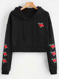 Embroidered Fleece Lined Cropped Hoodie - Black L
