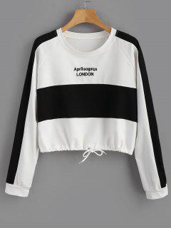Drawstring Letter Graphic Two Tone Sweatshirt - White