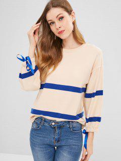Gestreifter Zweifarbiger Pullover Mit Bindebändern - Beige