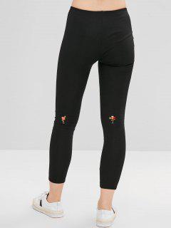 Pantalones Bordados Flacos - Negro M