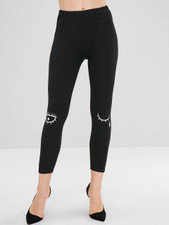 Eye Eyelash Print Skinny Pants - Black L