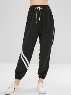 Drawstring Stripes Jogger Pants - Black S