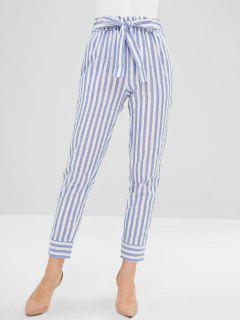Casual Belted Stripes Straight Pants - Light Sky Blue M
