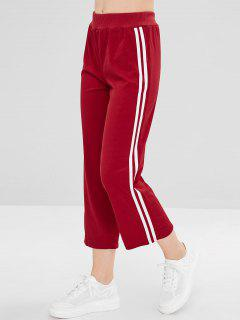 Straight Racing Stripes Pants - Cherry Red L