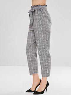 Pantalones Rectos Con Cinturón A Cuadros - Multicolor L
