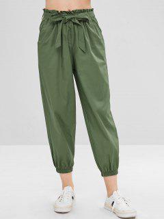 Pantalones De Jogger Con Cinturón De Cintura Alta - Verde Marrón Claro L