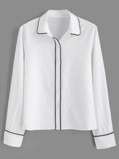Chemise Ajustée à Ourlet Liseré - Blanc S