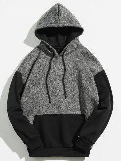 Kangaroo Pocket Contrast Color Hoodie - Black M