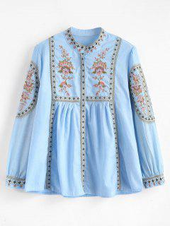 Flower Embroidery Pleated Blouse - Day Sky Blue L