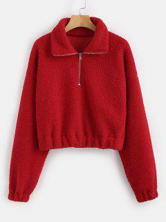 Half Zip Plain Faux Fur Sweatshirt - Red L