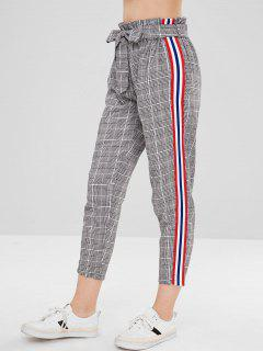 Belted Stripes Plaid Straight Pants - Multi-a L