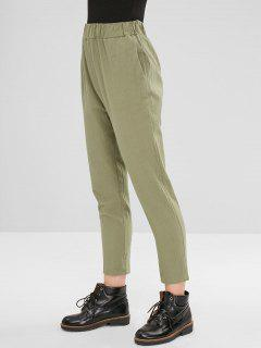 Plain High Waisted Straight Pants - Camouflage Green M