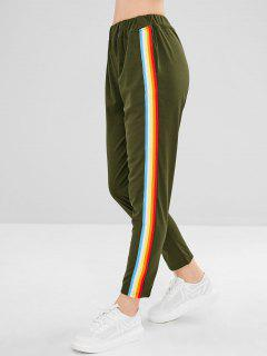 Colorful Stripes Straight Pants - Army Green L