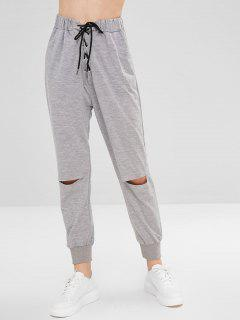 Cut Out Lace Up Pants - Gray Cloud S