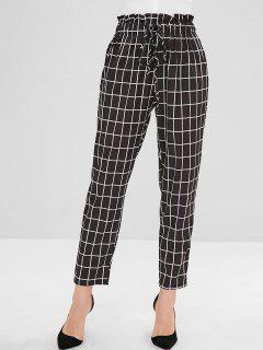 Pantalon Droit à Taille Haute à Carreaux - Noir L