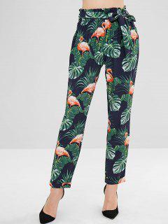 Palm Leaves Flamingo Straight Pants - Multi L