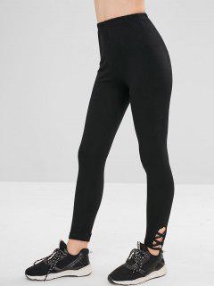 Plain Lattice Skinny Pants - Black L