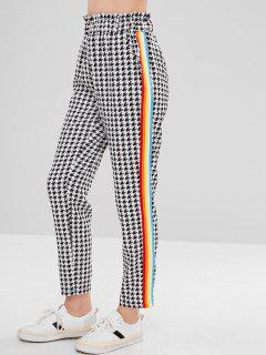 Colorful Striped Houndstooth Pants - Black M