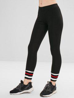 Striped Cuff Ponte Pants - Black M