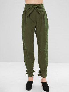 Belted Knotted Straight Pants - Army Green S