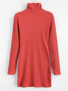 ZAFUL Ribbed Turtleneck Mini Dress - Chestnut Red L