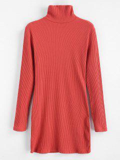 ZAFUL Ribbed Turtleneck Mini Dress - Chestnut Red S