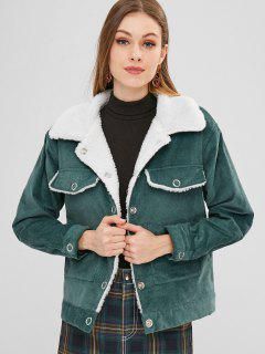 ZAFUL Snap Button Sheepskin Jacket - Dark Turquoise M