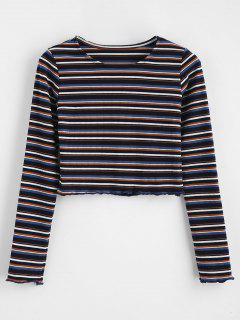 Crop Knit Striped Tee - Multi