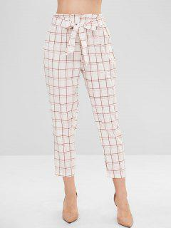 Pockets Plaid Belted Straight Pants - White M