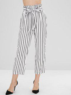 Belted Pockets Stripes Straight Pants - White M
