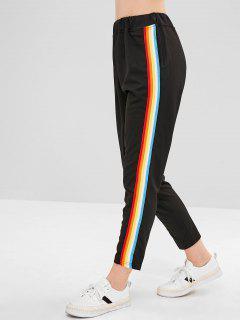 Colorful Stripes Straight Pants - Black Xl