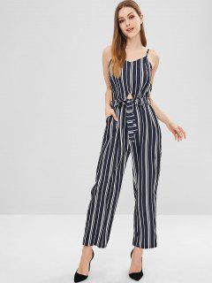Belted Cut Out Striped Wide Leg Jumpsuit - Dark Slate Blue S