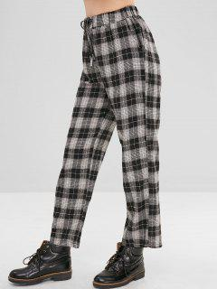 Plaid Drawstring Wide Leg Pants - Black L