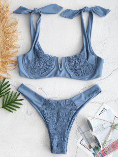 ZAFUL Ensemble De Bikini Plissé à Épaule Nouée - Bleu Koi S