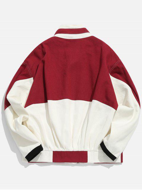unique Stand Collar Colorblock Zip Up Denim Jacket - RED M Mobile