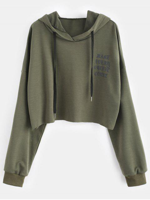 Raw Hem Graphic Plus Größe Hoodie - Armeegrün 2X Mobile