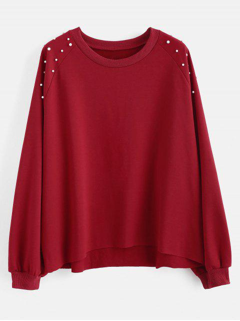 Sweat-shirt Perlé à Ourlet Brut de Grande Taille - Rouge Vineux 1X Mobile