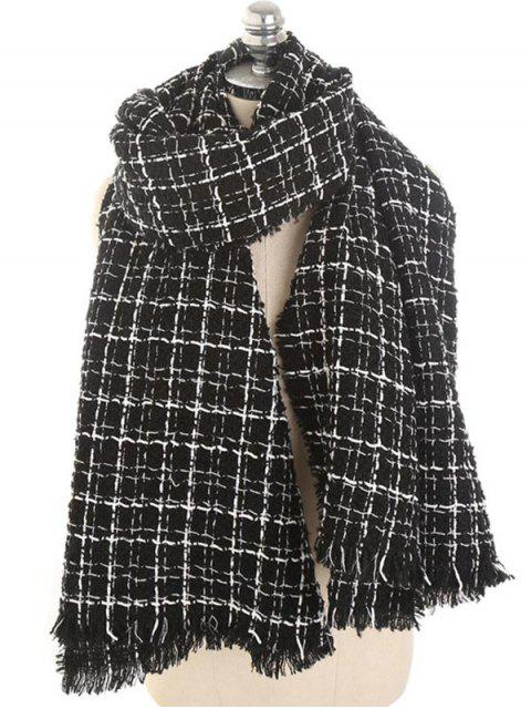 women's Winter Plaid Fringed Scarf - NIGHT  Mobile
