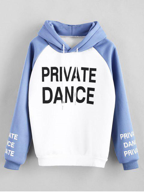 trendy Fleece Letter Print Raglan Sleeve Hoodie - WHITE L Mobile