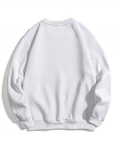 unique Colorblock Letter Print Fleece Sweatshirt - WHITE XS Mobile