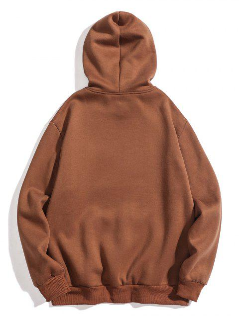 sale Left Print Pullover Fleece Hoodie - COFFEE XL Mobile