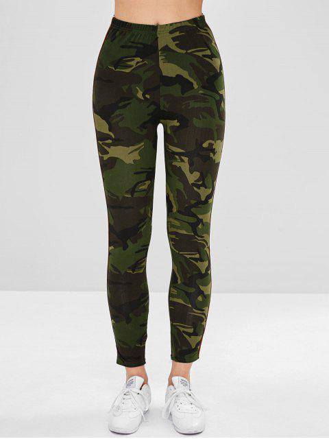 affordable Stripe Contrast Camouflage Leggings - WOODLAND CAMOUFLAGE M Mobile