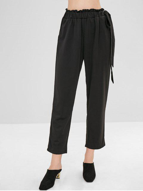 chic Ninth Knotted Straight Pants - BLACK M Mobile