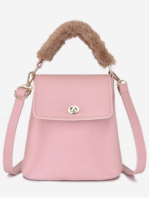 affordable Hasp Design Fluffy Bucket Tote Bag - LIGHT PINK  Mobile