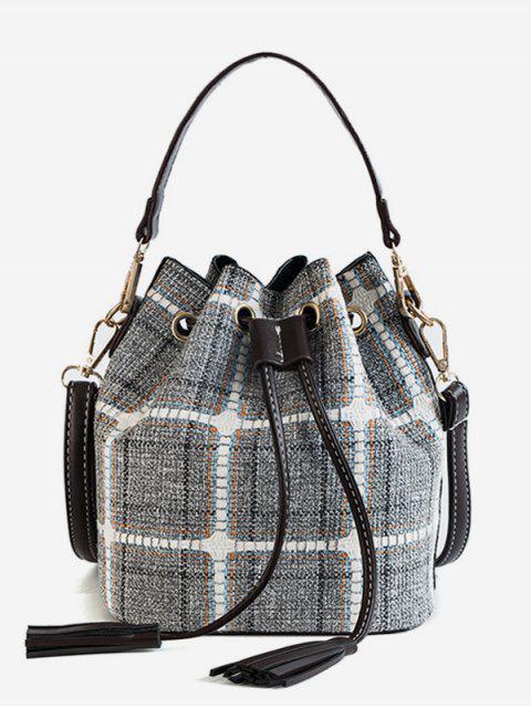 buy Plaid Pattern Tassel Bucket Handbag - SLATE BLUE  Mobile