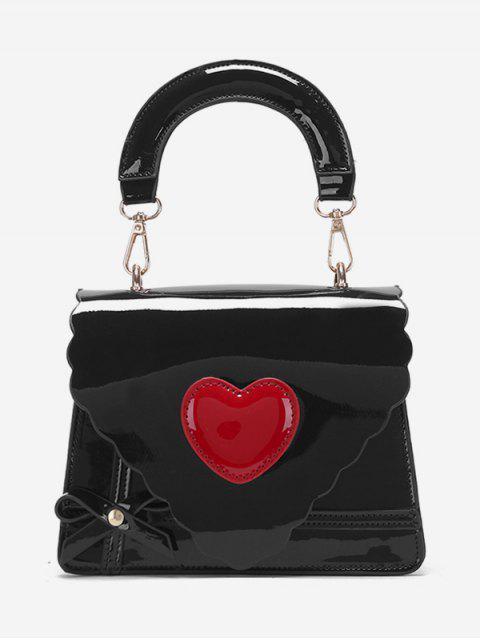 hot Patent Leather Heart Design Handbag - BLACK  Mobile