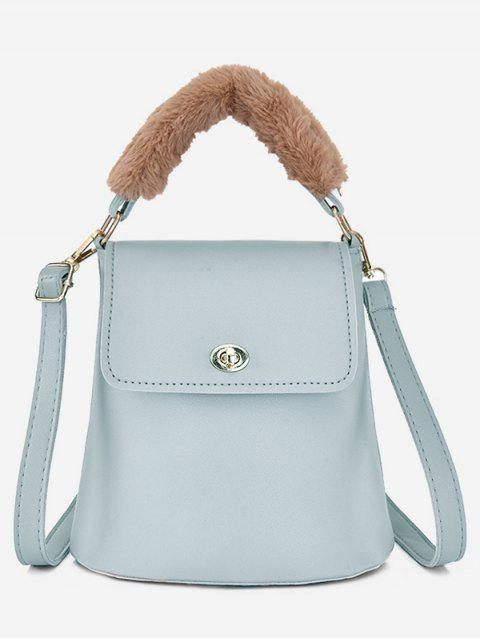 outfits Hasp Design Fluffy Bucket Tote Bag - PALE BLUE LILY  Mobile