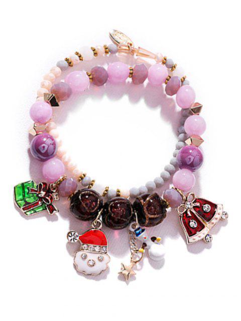Bracelet Charmant Perlé Bonhomme de Neige - Pourpre  Mobile